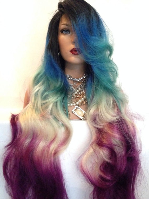 Teal Blue Blonde Pink Multicolor Lace Front By Glamourouzgirlz
