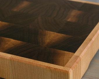 End Grain Cutting Board, chopping block, in Maple and Walnut