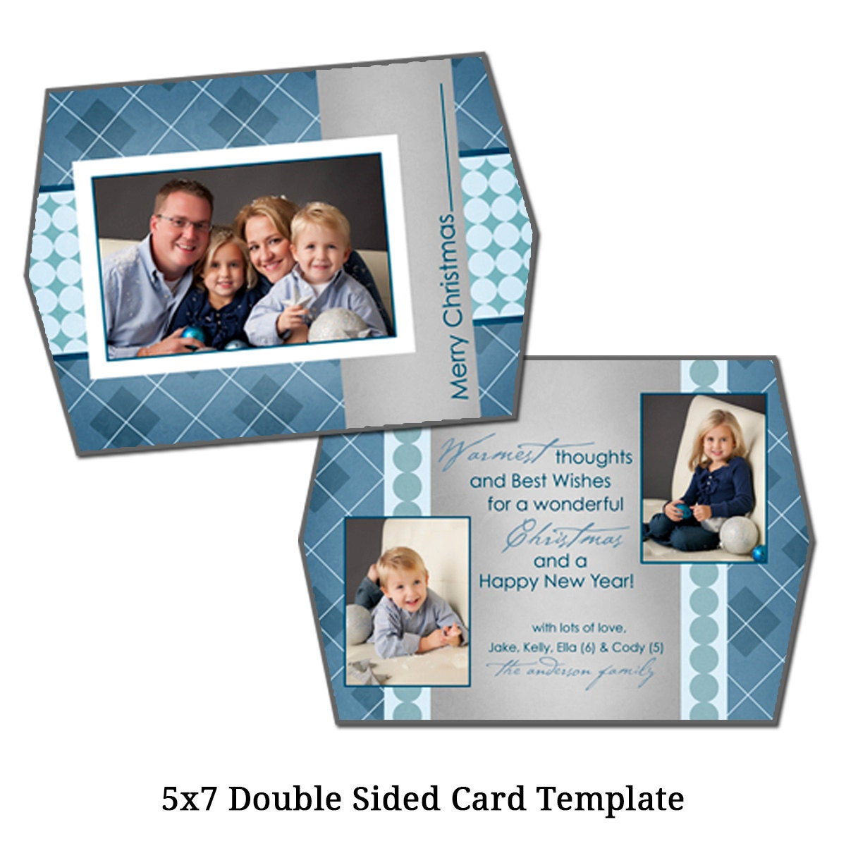 5x7 double sided christmas card template by vgallerydesigns. Black Bedroom Furniture Sets. Home Design Ideas