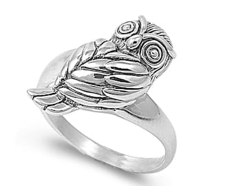 Owl Ring 20MM Sterling Silver 925