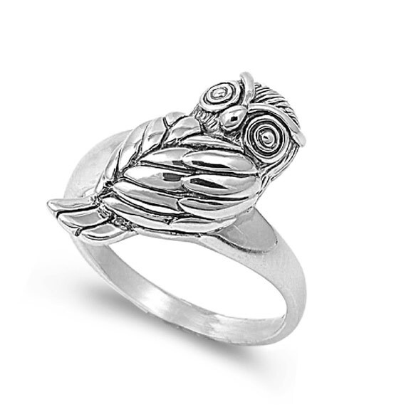 owl ring 20mm sterling silver 925 by jewelrybadger on etsy