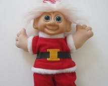 """Christmas TROLL Doll Size 12"""" White Hair Blue Eyes Rubber Face Vintage"""