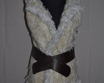 NEW!!Felting white vest