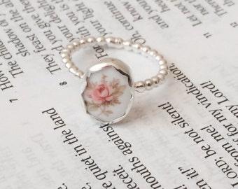 Sterling silver and porcelain vintage rose cabochon ring