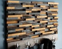 Wood Coat Rack.Wooden Coat Rack.Modern Coat Rack.Rustic Coat Rack.Coat Rack.Coat Hooks.Coat Hanger.Coat.Wood Art.Modern(Wood Tile Coat Rack)
