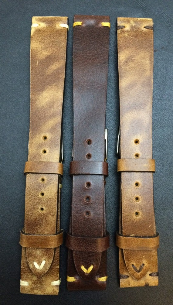 Vintage Leather Watch Strap | Leather Watch Band | Vintage Leather Band | Combo Set Brown Watch Band for Rolex, IWC and Omega watch