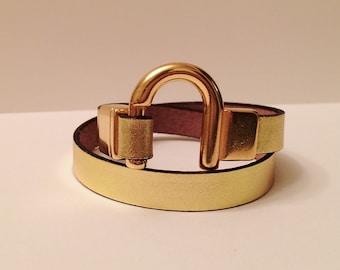 Leather Wrap Bracelet with Gold U-Clasp