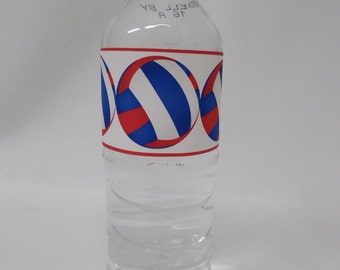 Red & Bright Blue Volleyball Water Bottle Labels with Volleyball Shapes