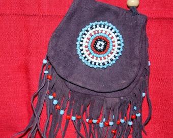 Bag dark brown suede with beadwork-rosette