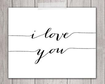 8x10 I Love You, Printable Art, Nursery Art, Nursery Decor, Printable Quote, Wedding Decor, Calligraphy, Wall Art