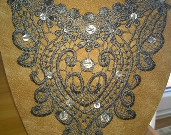 Bib Necklace Statement Collasr Very Unusual Eye Catching Silver Lace With Clear Quartz Gemstones
