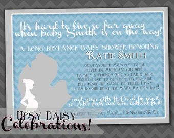 long distance state baby shower inv itation customized printable