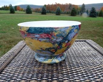 SOCIETE CERAMIQUE MAESTRICHT Antique 1800s Dutch Marbled Art Pottery Footed Rice Bowl