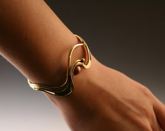 Bronze Cuff Bracelet: Flowing Bronze with Copper Disc Accent