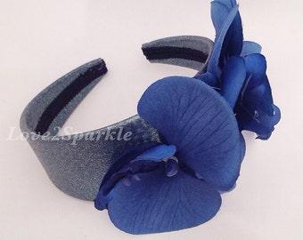 Blue Orchid Unique Headband, Glitter Hairband, Blue Flower Glitter Aliceband, Orchid Hairband, Orchid Wedding Hairband, Floral Aliceband