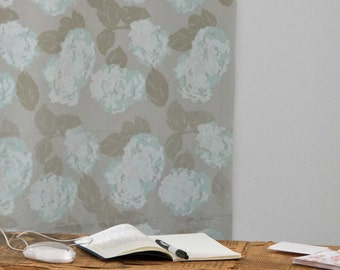 Hortensia in Mint and Light Grey : Hand-printed Fabric Panel