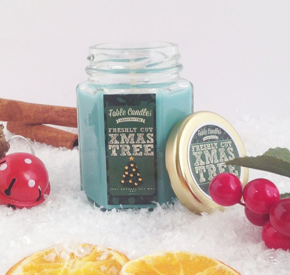 Xmas Tree Scented Soy Candle | Christmas Gift | Handmade Scented Candle -- 4oz