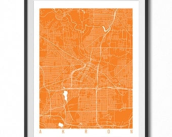 AKRON Map Art Print / Ohio Poster / Akron Wall Art Decor/ Choose Size and Color