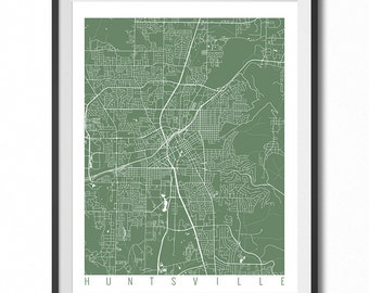 HUNTSVILLE Map Art Print / Alabama Poster / Huntsville Wall Art Decor / Choose Size and Color