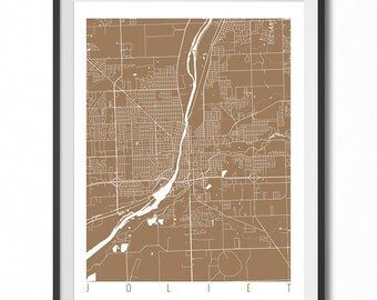 JOLIET Map Art Print / Illinois Poster / Joliet Wall Art Decor / Choose Size and Color