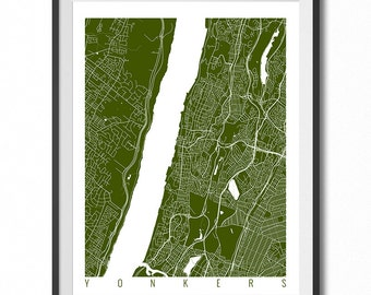 YONKERS Map Art Print / New York Poster / Yonkers Wall Art Decor / Choose Size and Color