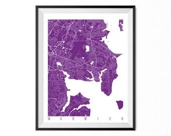 WARWICK Map Art Print / Rhode Island Poster / Warwick Wall Art Decor / Choose Size and Color