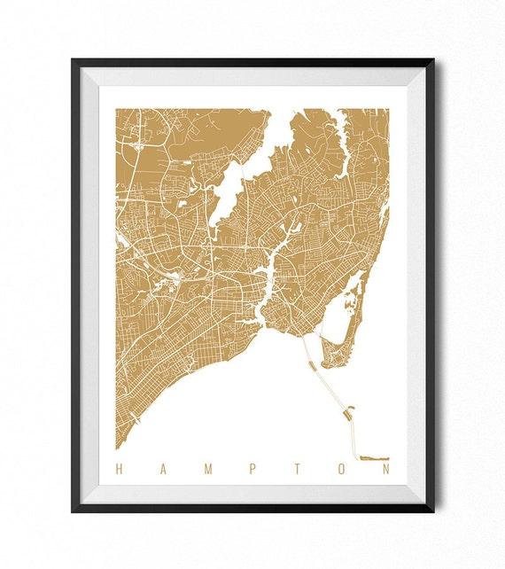 HAMPTON Map Art Print / Virginia Poster / Hampton Wall Art
