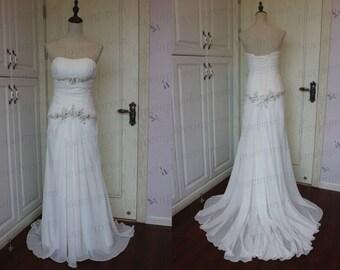 100% Handmade Beading Chiffon Wedding Dress,White/Ivory Long Wedding Gowns,Strapless Dress For Wedding,Women Bridal Dresses