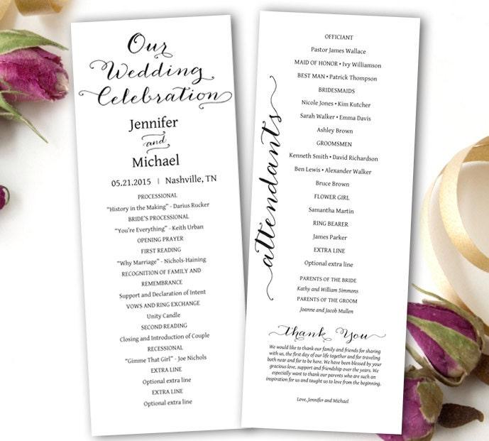 Printable Wedding Program Wedding Program Template DIY Tea