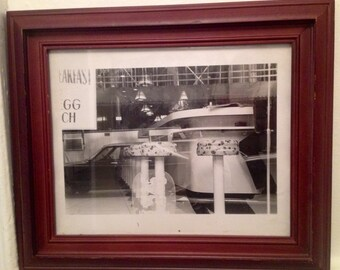Vintage 50s Diner double exposure original photo/black and white/car/industrial/framed