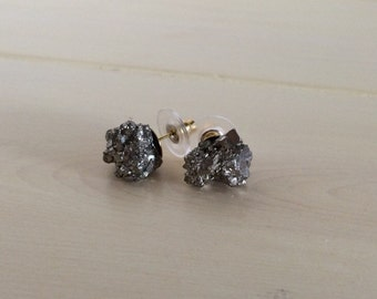 Fool's Gold Raw Pyrite Post Earrings