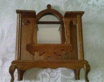 Cigar Box Dollhouse Furniture Vintage Handmade Dresser with round top mirror.