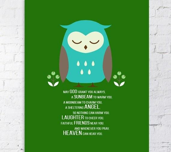 Items Similar To Owl Newborn Baby Boy Print 8x10