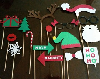 Christmas Photo Booth Props- Set of 16