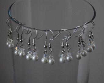 Bridesmaid Pearl Earrings Set of 7