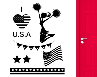 Wall Stickers USA Independence Day Celebration Cheerleader Vinyl Decal (ig2428)