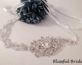 Crystal Pearl Headband, Wedding Headpiece, Wedding Pearl Headband, Bridal Pearl Headpiece, Ribbon Headband, Wedding Headpiece, Bridal