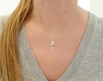 Cross Necklace + Cross And Pearl Necklace + Silver Cross Necklace + Gold Cross Necklace + Religious Jewelry + Faith Jewelry + Confirmation