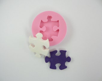 Classic Puzzle piece Mold Mould. Scrapbooking Resin Polymer clay Chocolate Fondant candy. Natu mold H003