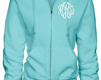 Monogram Full Zip Hooded Sweatshirt (Many Colors)