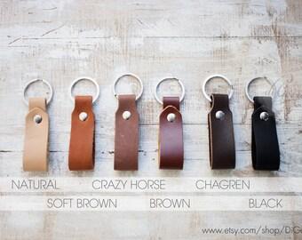 Genuine leather key fob brown leather keychain mens leather key chain thick leather key holder belt strap leather keychain leather key ring