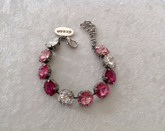 12mm swarovski crystal bracelet- pink- breast cancer- cancer awareness- supporting the FIGHT!- holiday gift-