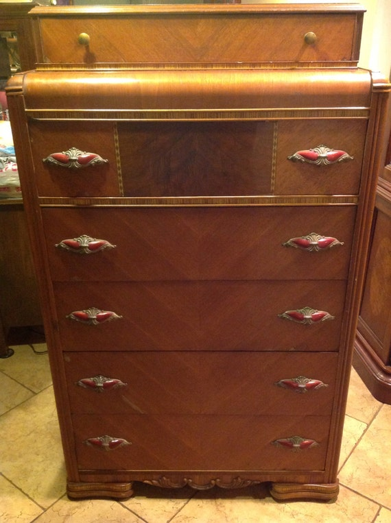 Unique Art Deco Waterfall Dresser Drawer W Inlays Orig Bakelite