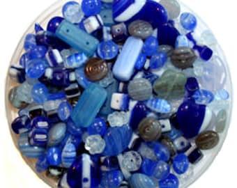 Bulk 100g Blues Czech Glass Bead Mix
