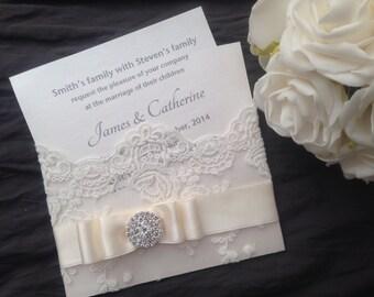 luxury vintage lace wedding invitation