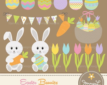 Easter Bunnies Clipart, Easter eggs, Carrot, Tulip flowers, Bunting, garland, Easter basket