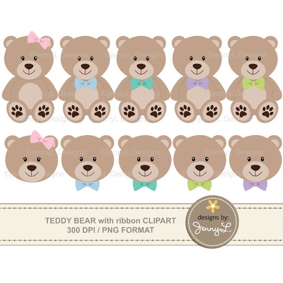 Teddy Bear Clipart with ribbon bow, Baptism Teddy Bear, Baby ...