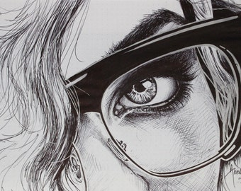Original Ballpoint Pen sketch of eye with glasses