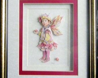 New Handcrafted Framed Decoupaged Faerie / Pixie Picture by Frances Mortimer for Mystic Elements~ Ladybird..