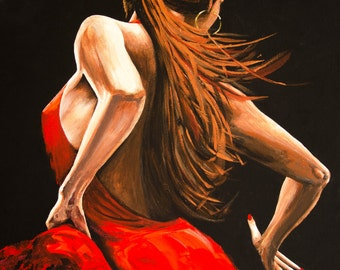 Dancer in Red.  Gallery wrapped print from my original acrylic painting.